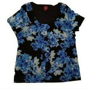 Collection Floral Ruffle Front Top